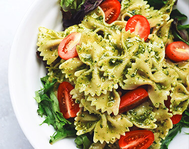 Salmon pasta salad with lemon and capers